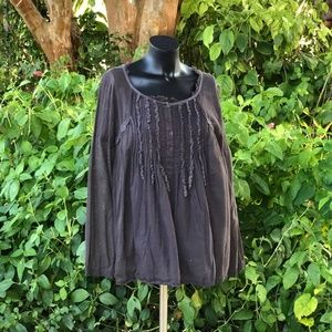 Free People Gray Gauzy Lace Peasant Top-Small